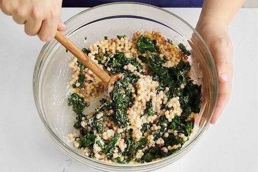 Dress the pasta & kale