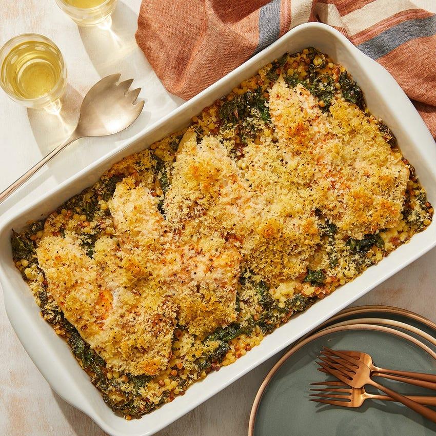 Baked Tilapia & Creamy Kale with Fregola Sarda Pasta