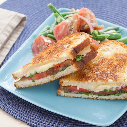 Heirloom Tomato & Fontina Grilled Cheese Sandwiches with Dijon-Dressed Summer Vegetables