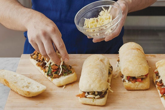 Finish the vegetables & assemble the tortas: