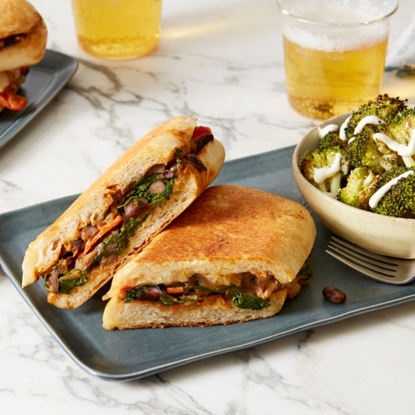 Black Bean & Cheese Tortas with Roasted Broccoli & Lime Sour Cream