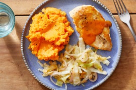 Seared Chicken & Pan Sauce with Mashed Sweet Potatoes & Sautéed Cabbage