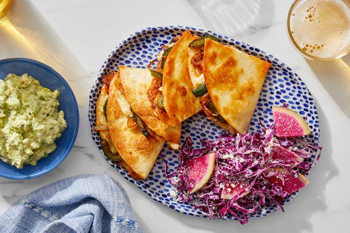 Spicy Vegetable Quesadillas with Watermelon Radish & Cabbage Slaw