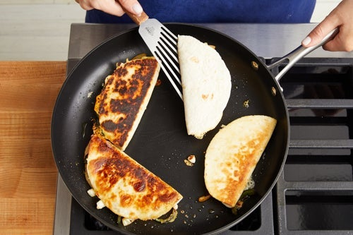 Cook the quesadillas & serve your dish