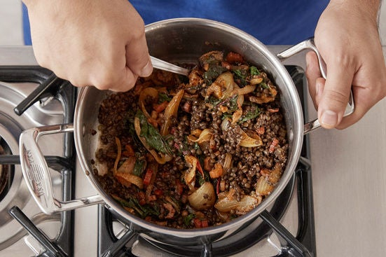 Finish the lentils & plate your dish: