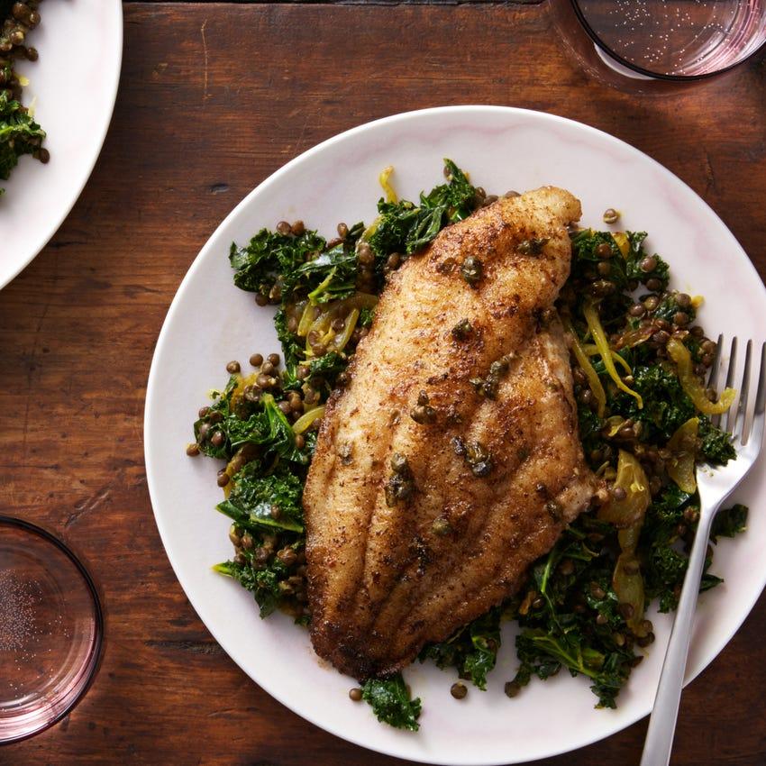 Catfish Meunière with Spiced Lentils & Kale