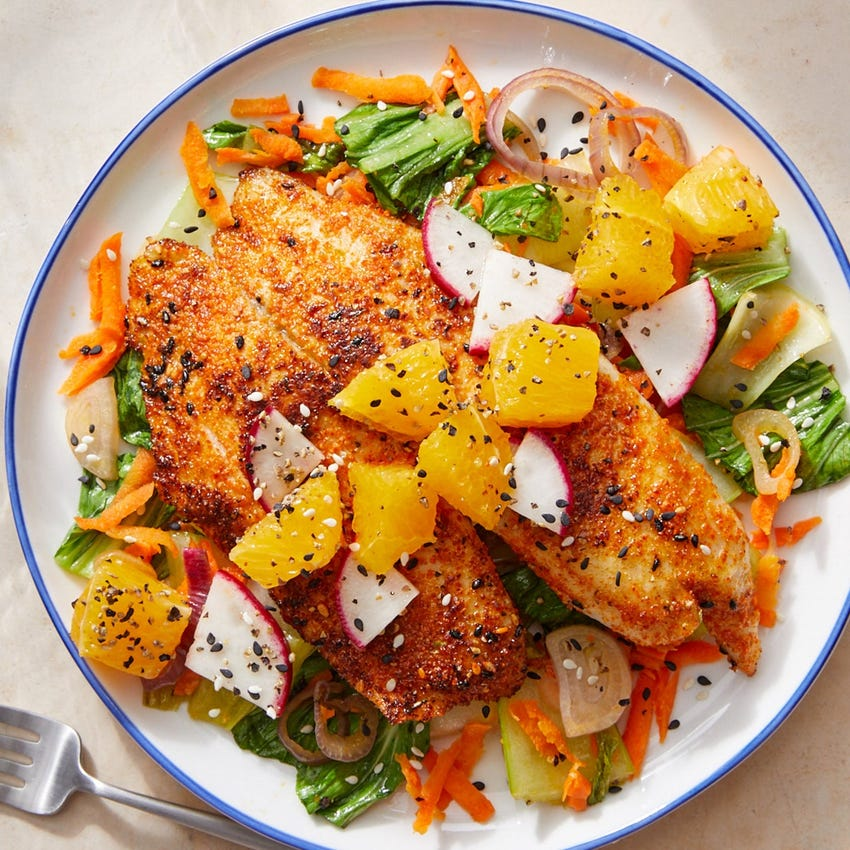 Japanese-Style Tilapia with Bok Choy, Carrots & Sesame Seeds