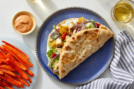 Sheet Pan Chicken Pitas with Carrot Fries & Harissa Labneh