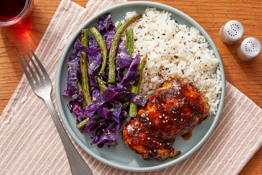 Spicy Soy-Glazed Chicken Thighs with Green Beans & Rice