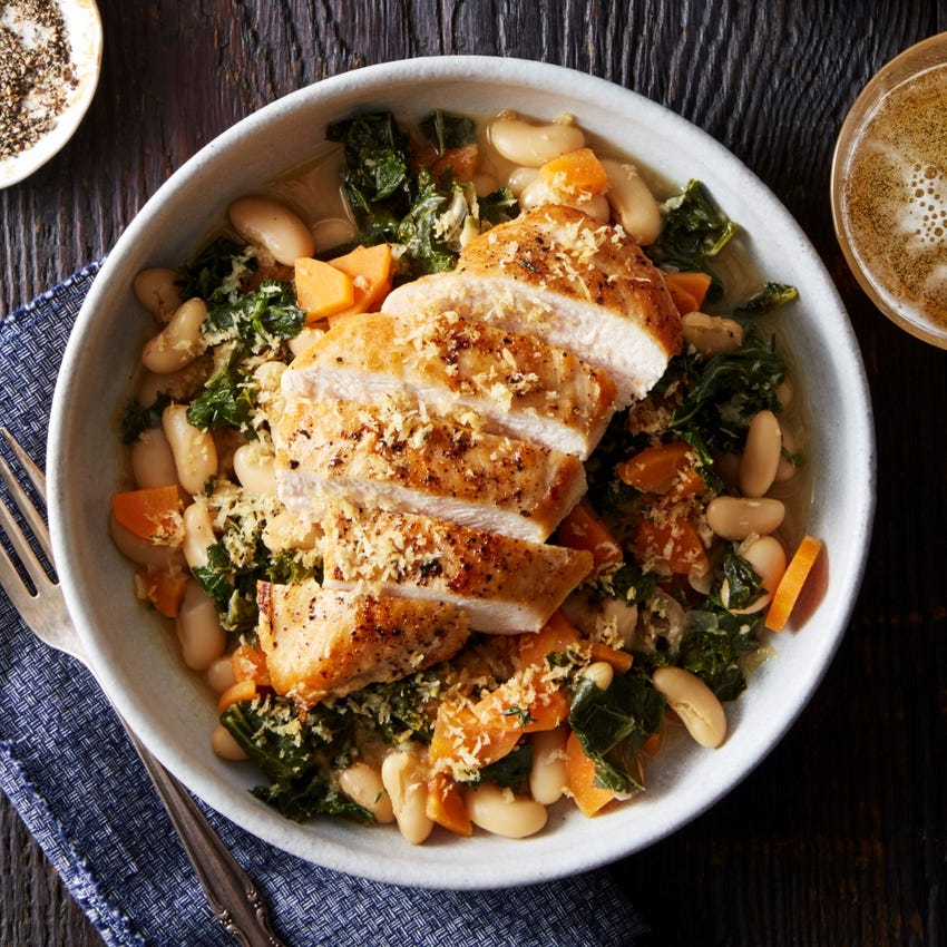 Chicken & Stewed White Beans with Thyme Breadcrumbs