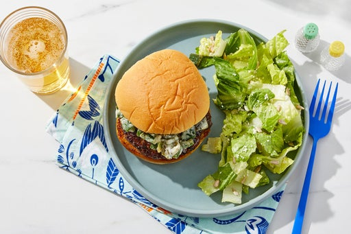 Creamy Poblano Burger with Lemon Cotija Salad