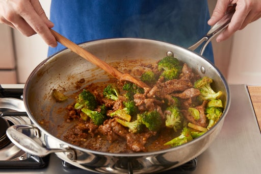 Cook the beef & finish the broccoli: