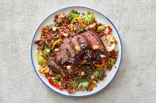 Finish & Serve the Asian-Style Steaks & Quinoa