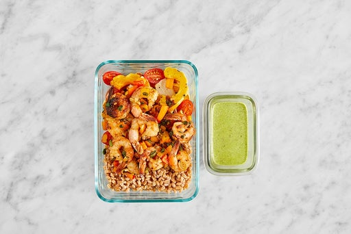 Assemble & Store the Seared Shrimp & Farro