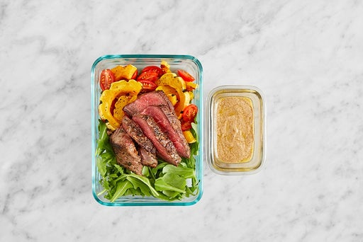 Assemble & Store the Steak & Arugula Steak Salad