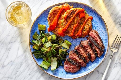 Asian-Style Steak & Scallion Potato Cakes with Spicy Mayo & Bok Choy