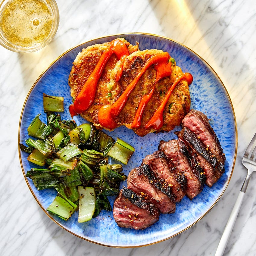 Asian-Style Steak & Scallion Potato Cakes with Spicy Mayo & Bok Choy