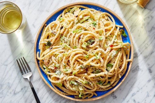 Goat Cheese  & Lemon Pasta with Brussels Sprouts