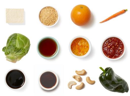 Orange & Soy-Glazed Tofu with Brown Rice, Vegetables & Cashews