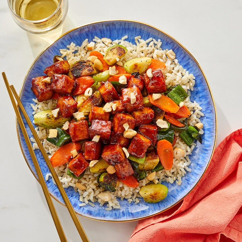 Orange & Soy-Glazed Tofu with Brown Rice, Vegetables & Cashews