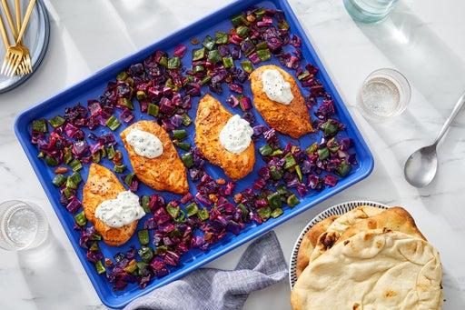Sheet Pan Tandoori-Style Chicken with Cucumber-Yogurt Sauce & Roasted Vegetables
