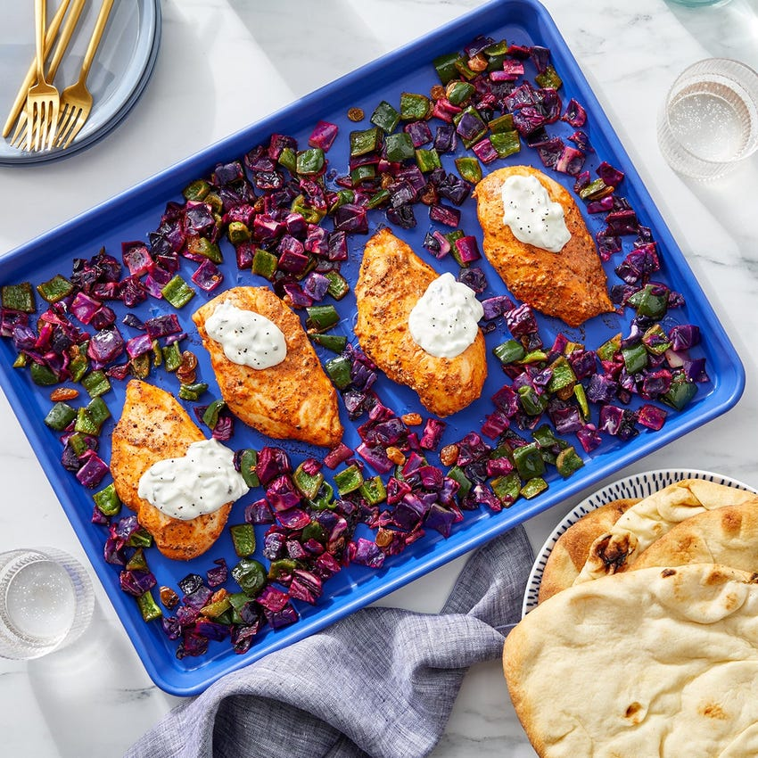 Sheet Pan Tandoori-Style Chicken with Cucumber-Yogurt Sauce & Roasted Vegetables