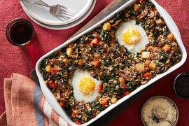 Mushroom & Red Rice Casserole with Baked Eggs & Kale