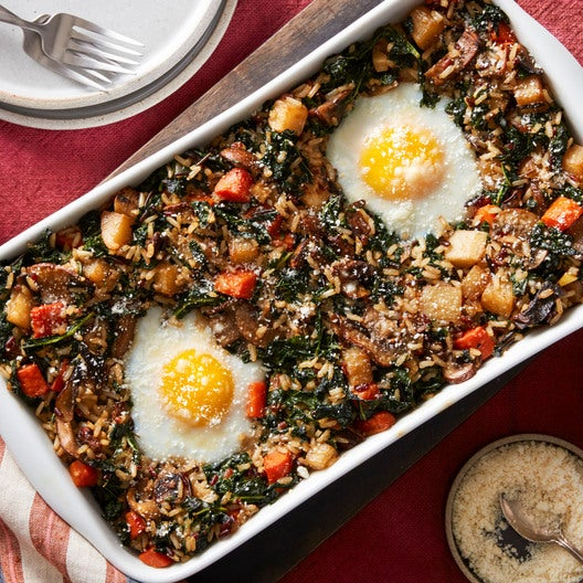 Mushroom & Red Rice Casserole with Kale & Baked Eggs