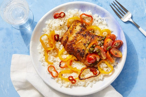 Seared Cod & Peppers over Creamy Rice