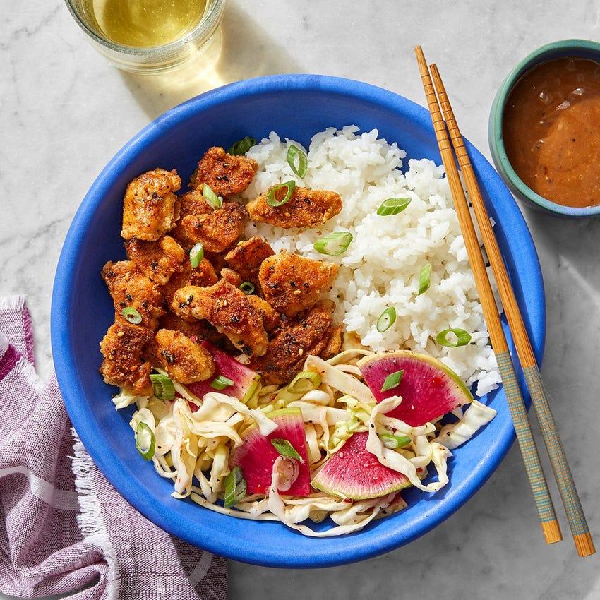 Togarashi Popcorn Chicken with Hoisin Mayo & Sweet Chili Slaw