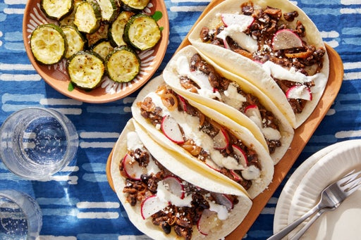 Black Bean & Caramelized Onion Tacos with Roasted Zucchini