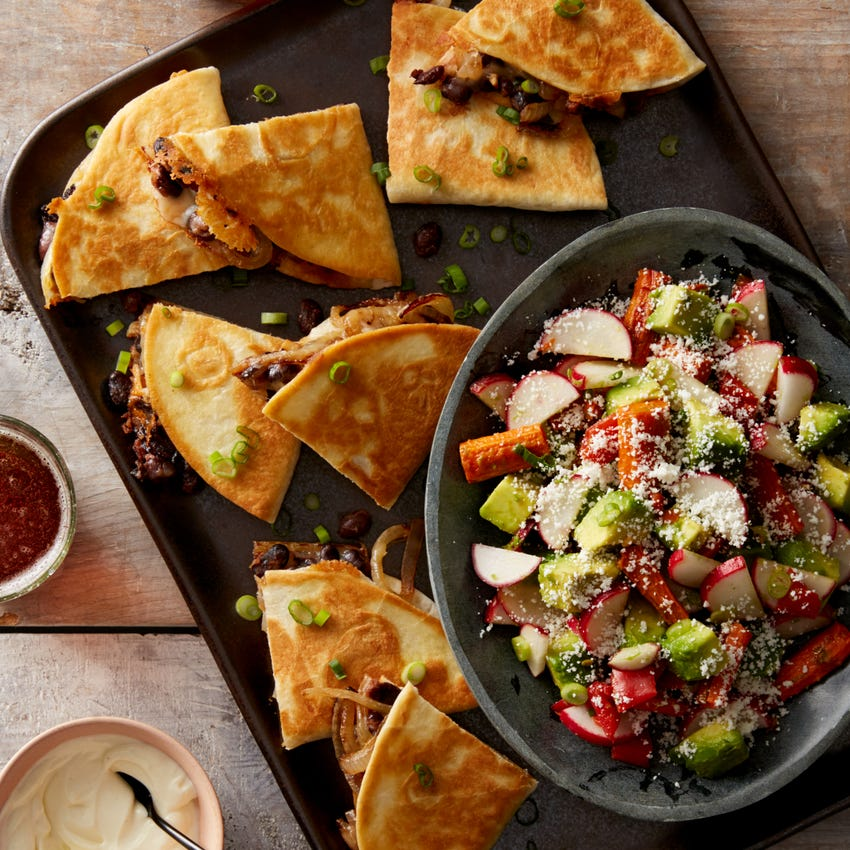 Spicy Black Bean Quesadillas with Roasted Carrot & Avocado Salad