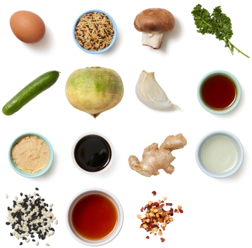Miso-Ginger Rice Bowls with Mushrooms, Kale & Watermelon Radish