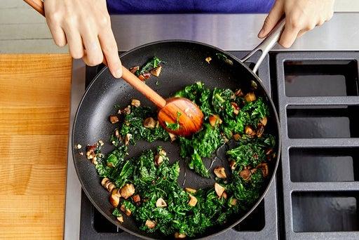 Cook the mushrooms & kale