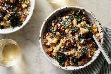 Creamy Pasta & Kale with Fried Rosemary & Walnuts