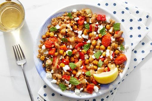 Shawarma-Spiced Chickpea & Farro Bowls with Feta, Mint & Lemon-Tahini Dressing