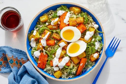 Shawarma-Spiced Vegetable & Couscous Bowls with Arugula & Roasted Lemon Labneh