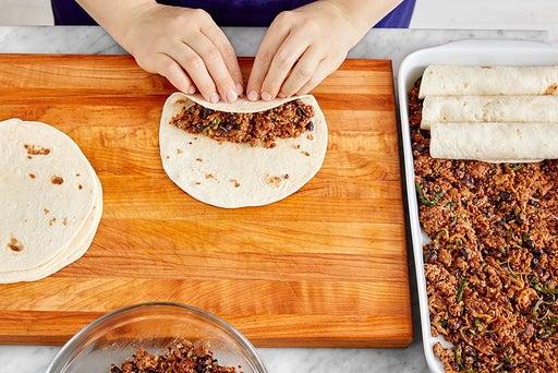 Finish the filling & assemble the enchiladas