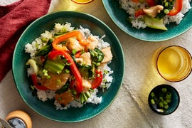 Chicken & Pepper Stir-Fry with Bok Choy & Rice