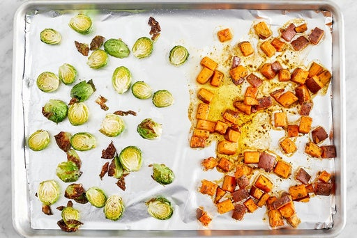 Roast the sweet potato & brussels sprouts