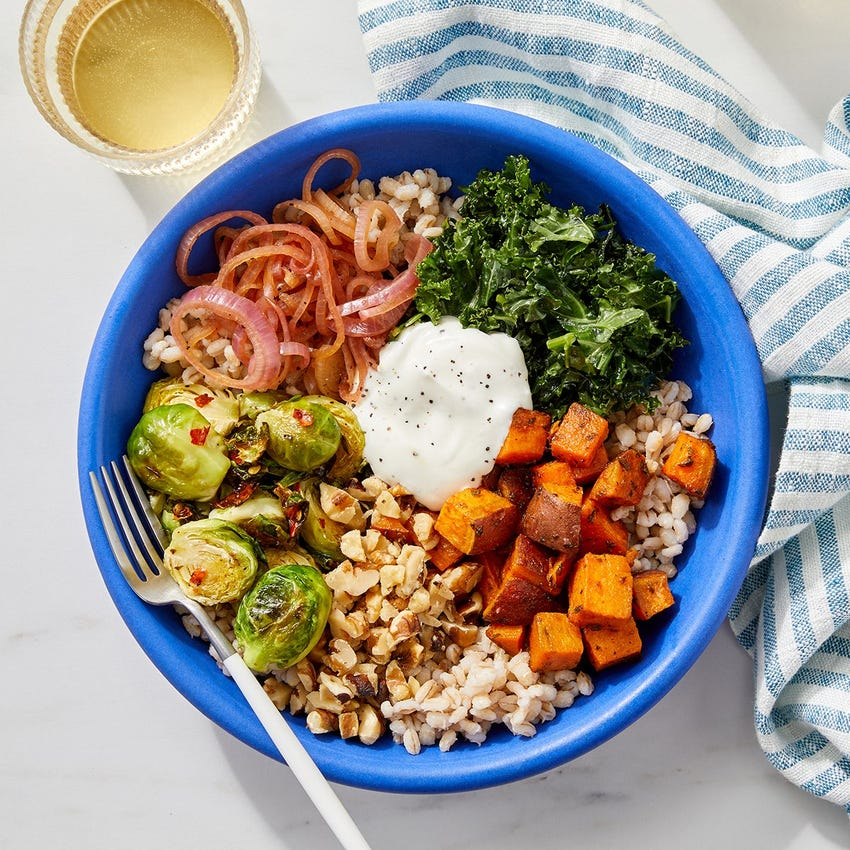 Hot Honey Brussels Sprout & Sweet Potato Grain Bowls with Pickled Shallot & Walnuts