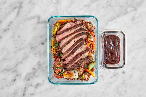 Assemble & Store the Asian-Style Steaks & Quinoa