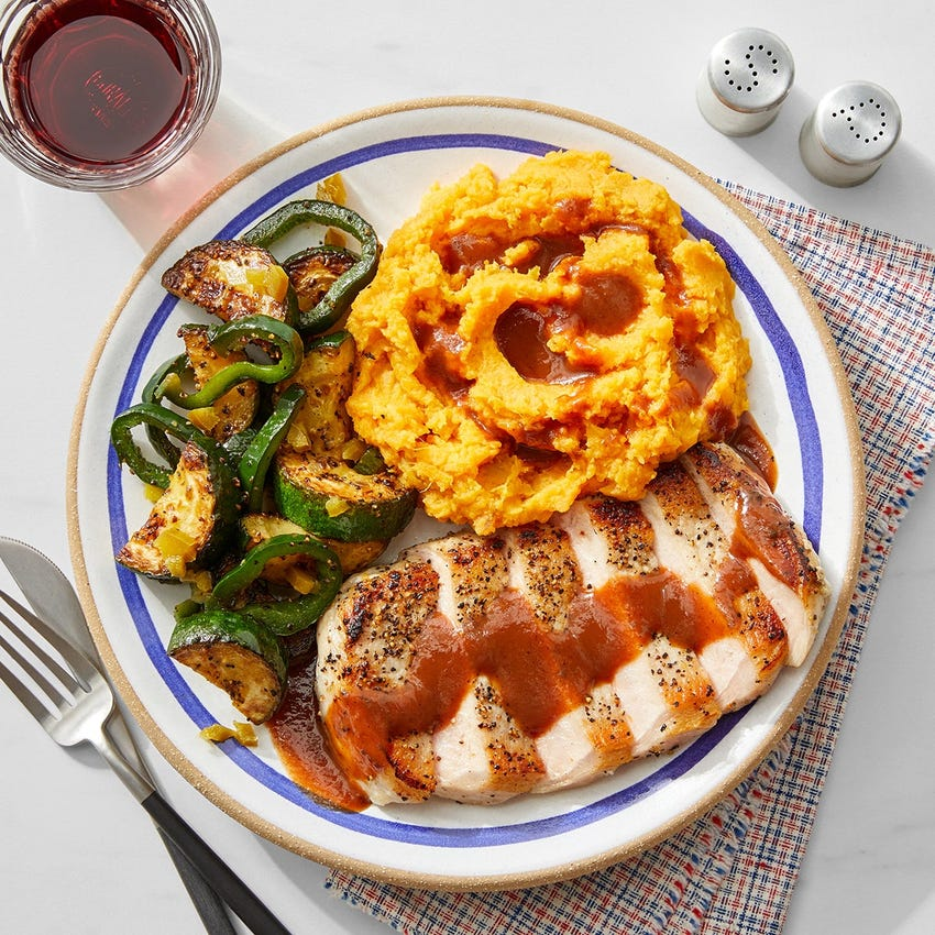 Seared  Pork Chops & BBQ Sauce with Mashed Sweet Potatoes