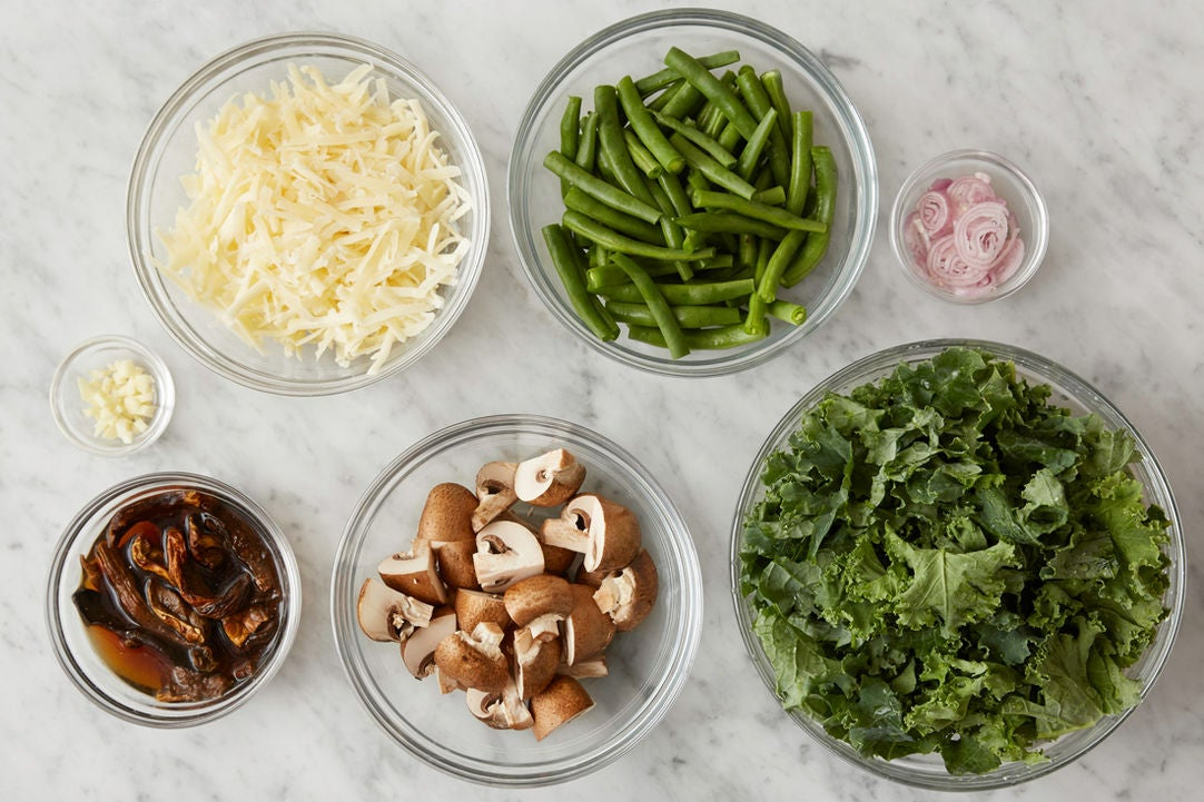 Prepare the ingredients & rehydrate the mushrooms: