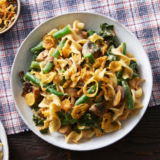 Cheesy Egg Noodles with Mushrooms & Crispy Onions