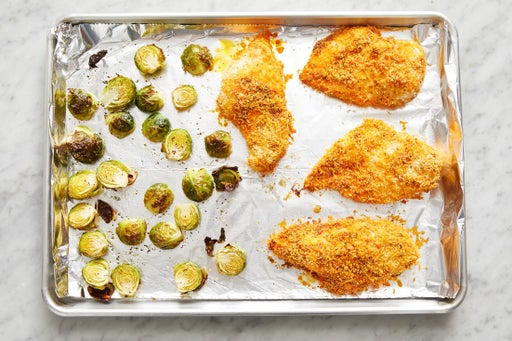 Roast the chicken & brussels sprouts