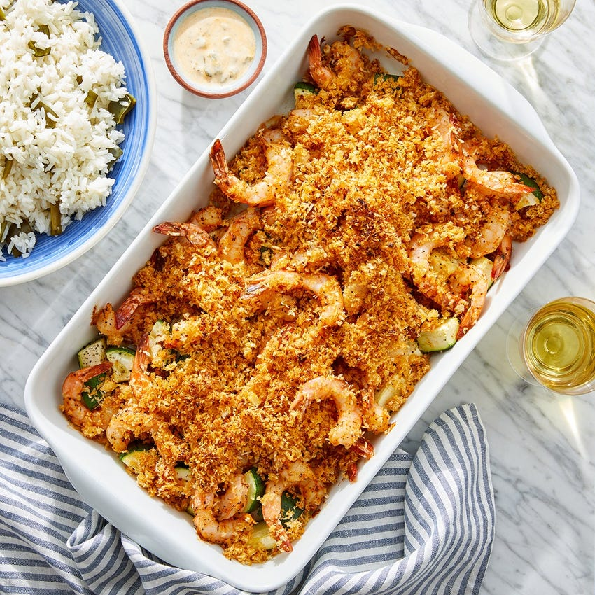 Cajun-Spiced Shrimp Bake with Remoulade & Pepper Rice