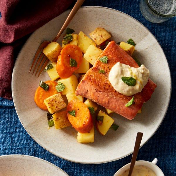 Salmon & Honey-Glazed Carrots with Lemon-Saffron Yogurt Sauce