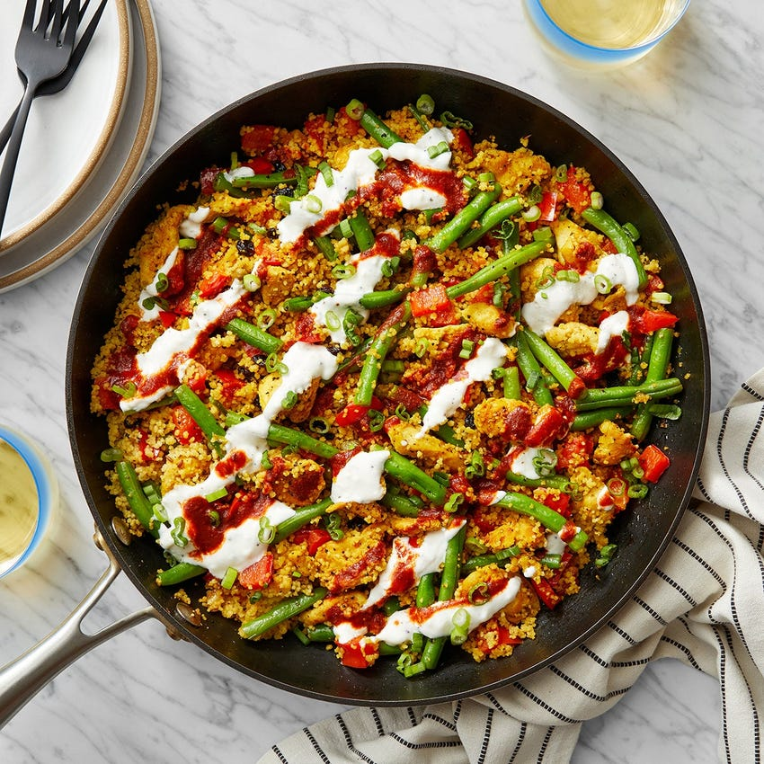 Shawarma Chicken & Couscous Skillet with Lemon Labneh & Harissa Sauce