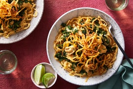 Spicy Chicken Khao Soi with Crispy Wonton Noodles
